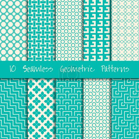 Illustration for Grunge Seamless Geometric vector Patterns Set. - Royalty Free Image
