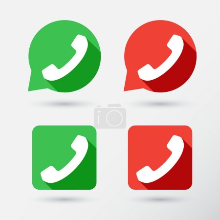 Illustration for Phone icons set in speech bubbles and buttons - Royalty Free Image