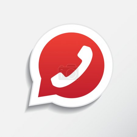 Illustration for Phone icon in speech bubble, vector - Royalty Free Image