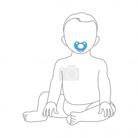 Sweet little boy sitting with soother