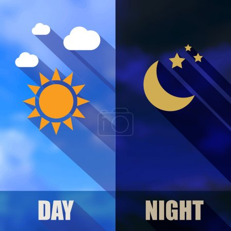 Day and night banners with sun and moon
