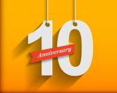 10 Anniversary numbers with ribbon Flat origami stylen with long shadow Vector illustration