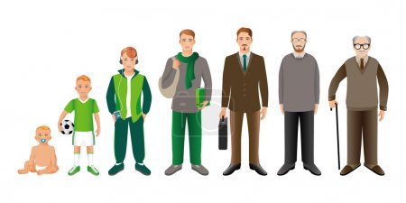 Illustration for Generation of men from infants to seniors. Baby, child, teenager, student, business men, adult and senior man. - Royalty Free Image