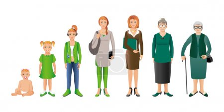Illustration for Generation of woman from infants to seniors. Baby, child, teenager, student, business woman, adult and senior woman. Realistic images isolated on white background. - Royalty Free Image