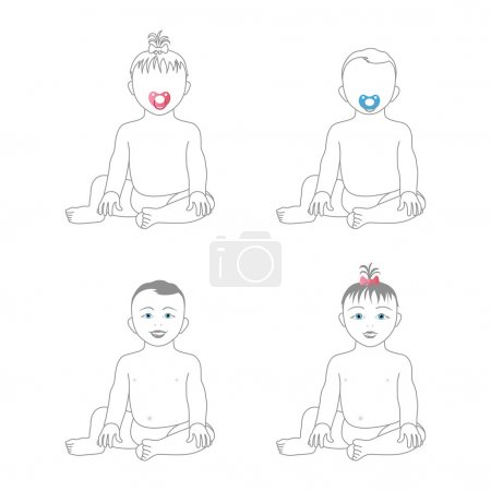 Illustration for Sweet little baby girl and baby boy sitting and smiling, isolated on white background. Flat style, contour line. Realistic images. - Royalty Free Image
