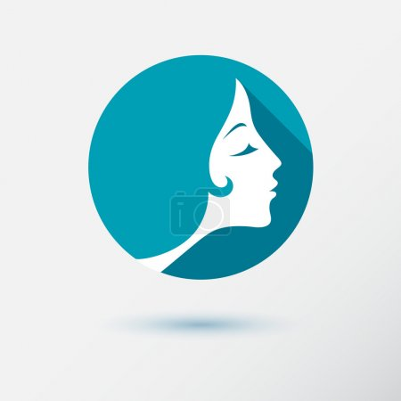 Illustration for The woman fashion icon or logo with flower. Flat design. Contour lines. - Royalty Free Image