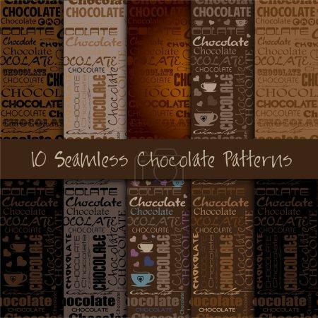 Illustration pour Ensemble de motifs en chocolat sans couture avec un mot de chocolat et différentes polices . - image libre de droit