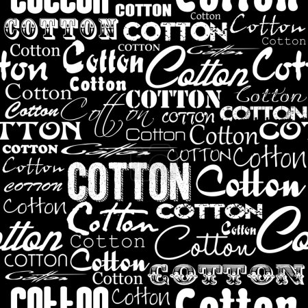 Seamless patterns with cotton flower and fonts