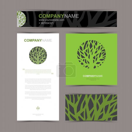 Business cards template with stylized tree