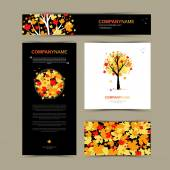 Business cards template with stylized tree Beautiful autumn tree logo Vector illustration Card banner and pattern background