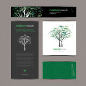 Business cards template with stylized tree Beautiful tree logo Vector illustration Card banner and pattern background