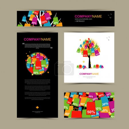 Business cards template with autumn sale
