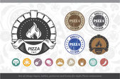 Set of vintage logos lables patterns and icons for Pizza restaurant style