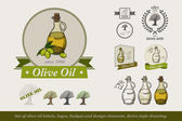 Set of olive oil labels logos badges