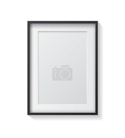 Illustration pour Cadre photo en bois sombre réaliste, suspendu sur un mur blanc du front. Modèle de conception pour maquette . - image libre de droit