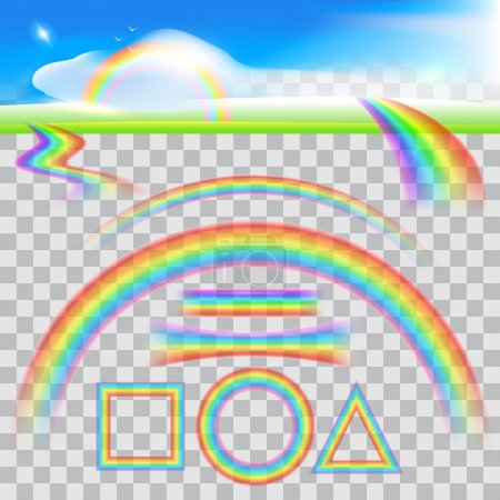 Illustration for Set of Different Shapes of Realistic Rainbows. Shine dynamic flow, Realistic image. Transparent background. Vector illustration - Royalty Free Image
