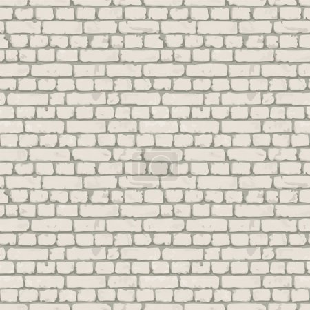 White- gray brick wall. Endless texture, web page background. Vector seamless pattern.
