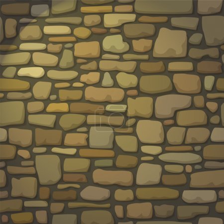 Stone wall. Lamplight. Web page background. Vector seamless pattern.