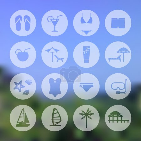 Rest, beach circle icon set. Recreation and relaxation, blurred background. e p s 1 0