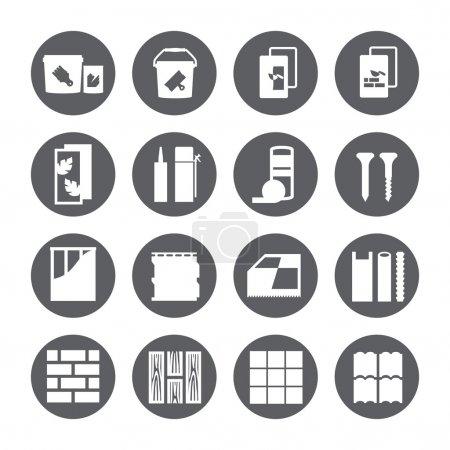 repair icons. vector set. construction materials.