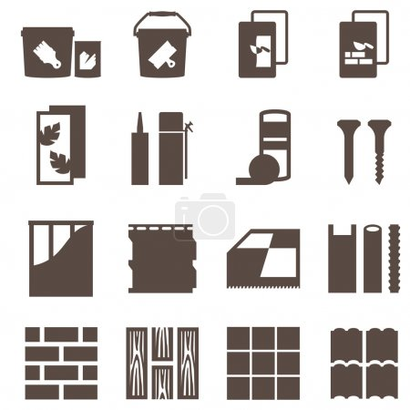 Repair icons. vector set. construction materials.