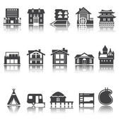 icon hotel house camping accommodation options Vector set Shadow reflection e p s 1 0