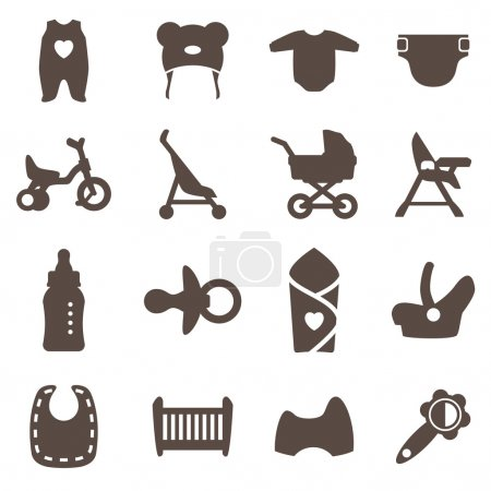 Goods for newborns icons. Vector signs. Shop for children.