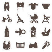 Goods for newborns icons Vector signs Shop for children