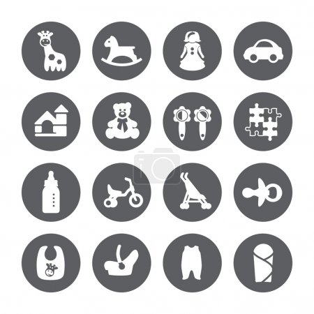 Goods for newborns icons. Shop for children.Toys icons. Vector signs. Set toy store.