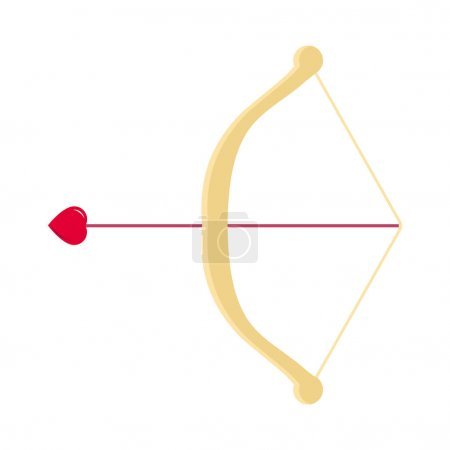 Photo for Valentine's day vector flat icon of a cupid bow and an arrow with a heart - Royalty Free Image