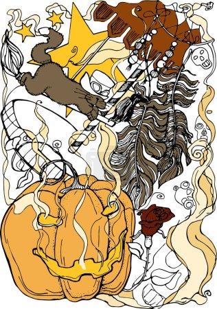 Illustration pour Illustration vectorielle festival d'automne Halloween, citrouille, chat sur un balai, carrousel, plumes, rose, noir et blanc, affiche, carte postale - image libre de droit