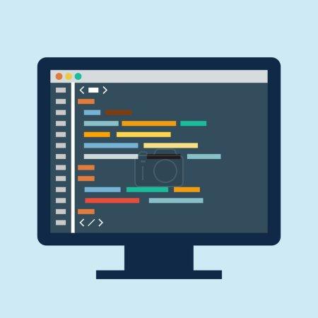 Code editor on a monitor