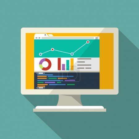 Infographic Elements and  Code Editor on a Monitor