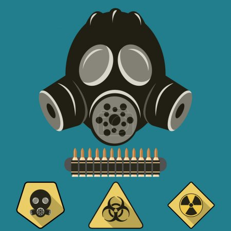 Illustration for Gas Mask Flat Illustration - Royalty Free Image