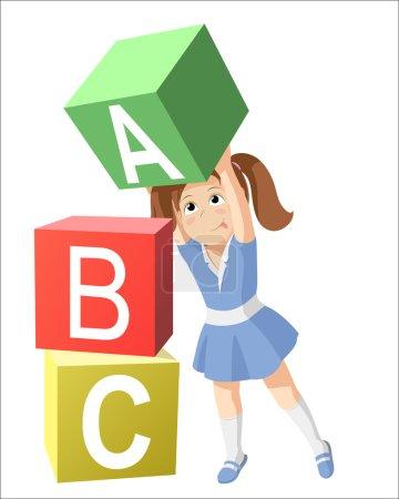Smiling little girl, studying the alphabet.  Child...