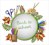 Bright school clipart with school supplies and a place for text vector