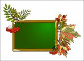 Blackboard with autumn leaves and Rowan on white background vector