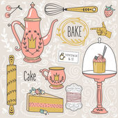 Colorful collection of baking items and sweets