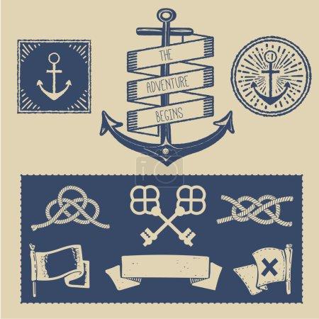 Set Of Vintage Nautical Badges