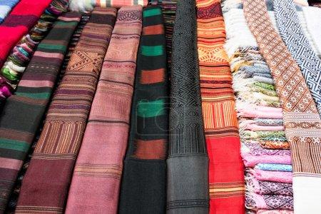 Lao handmade cotton and Silk scarf near plateau Bolaven, Laos