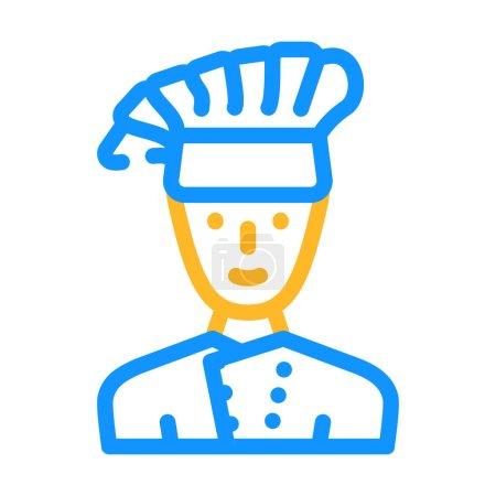 Illustration pour Cuisinier cuisinier cantine travailleur couleur icône vecteur. cuisinier cuisinier cantine travailleur signe. illustration de symbole isolé - image libre de droit