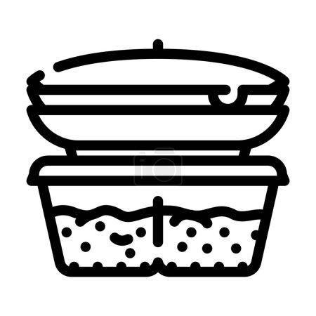Illustration pour Ensemble de nourriture cuite cantine icône vecteur de ligne. ensemble de nourriture cuite signe de cantine. symbole de contour isolé illustration noire - image libre de droit
