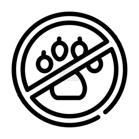 Illustration pour Non animaux dans cantine marque ligne icône vecteur. non animaux en signe de marque de cantine. symbole de contour isolé illustration noire - image libre de droit