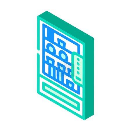 Illustration pour Distributeur automatique avec de la nourriture et des boissons en cantine isométrique icône vecteur. distributeur automatique avec de la nourriture et des boissons dans la cantine signe. illustration de symbole isolé - image libre de droit