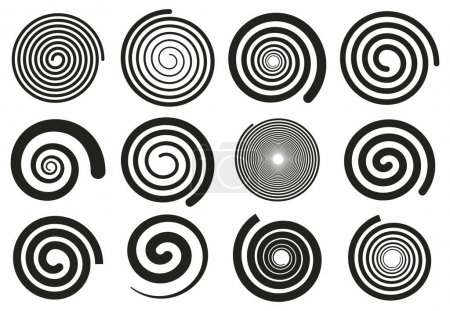 Illustration pour Abstract spirals. Vortex swirl motion elements, simple rotating spirals silhouettes isolated vector illustration set. Spiral rotating stripes. Rotation and spiral circle, motion twist element - image libre de droit