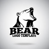 Vector logo template with Roaring Bear for sport teams brands etc