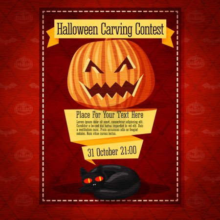 Banner for carving contest or invitation to the halloween party with carved pumpkin and black cat. On yellow ribbons.