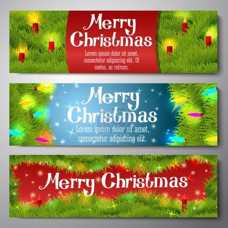 Illustration pour Ensemble de bannières horizontales Joyeux Noël décorées par une couronne de pin avec des bougies, des boules, des lumières . - image libre de droit