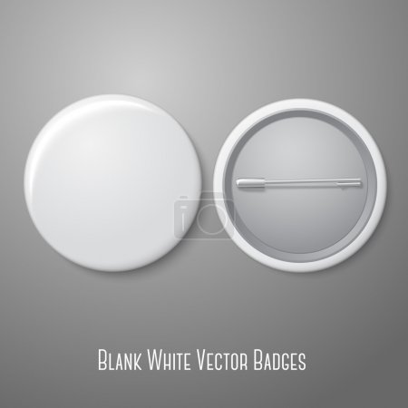 Illustration for Blank vector white badge with place for your text. Both sides - face and back. Isolated on grey background for design and branding. Vector illustration - Royalty Free Image