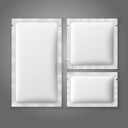 Blank white plastic sachets for coffee, sugar, salt, spices, medicine, condoms, drugs.
